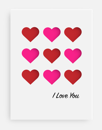 Cut the heart on the paper and a white background. Card for valentine's day, birthday, anniversary, party invitations, Wedding and other. Vector illustration