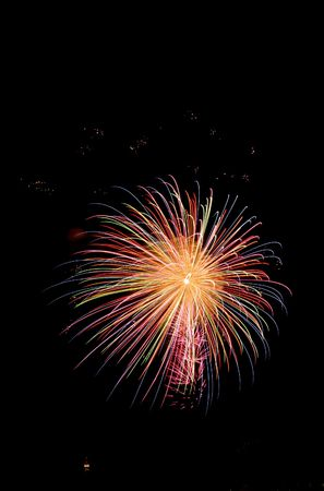 bangkok night: Firework 2006 for the King of Thailand by Seiko Stock Photo