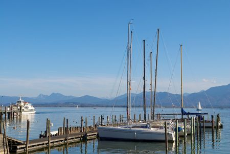 Sailing boats parking in the Chiemsee lake pier, Germany Stock Photo - 7350755