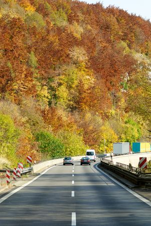 autumn color highway in Germany photo