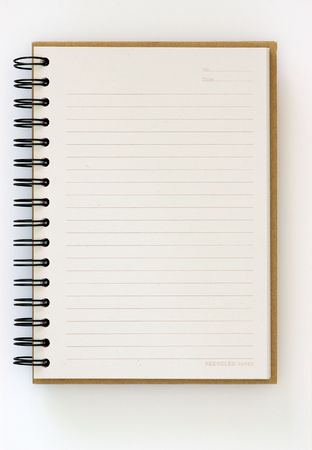 Recycle paper opened notebook on white background Stock Photo - 7848279