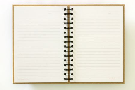 notebook page: Recycle paper notebook open two pages on white background Stock Photo