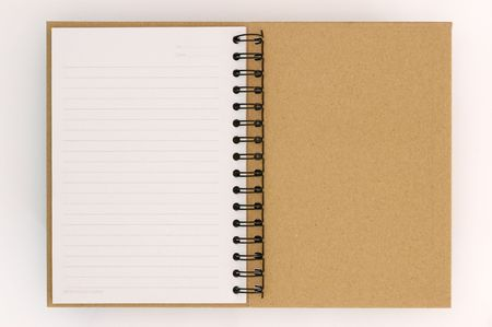 Recycle paper notebook last page on white background photo