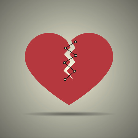 Broken and stitched heart icon, flat design, black and white colors