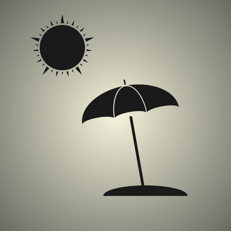 beach umbrella with sun in black and white style Illustration