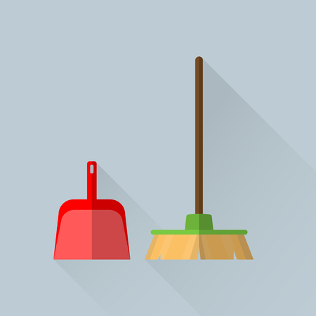 Broom and a scoop in flat style
