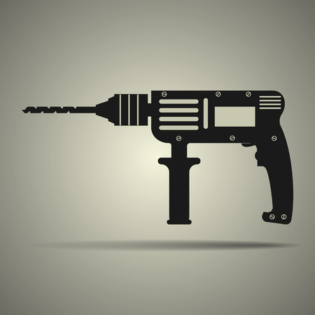 drill: Drill icon in flat design, black and white colors, isolated