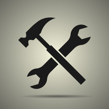 Hammer and spanner, tools icon in flst black and white style, isolated