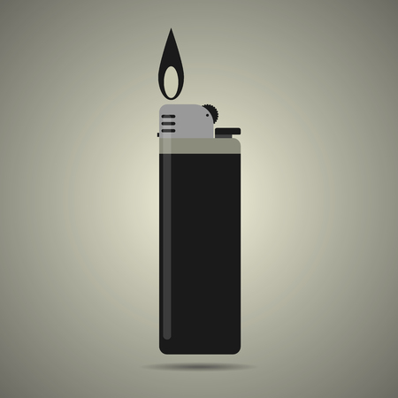 gas lighter: gas lighter with fire, isolated, flat style, black and white colors, illustration for web site or mobile app