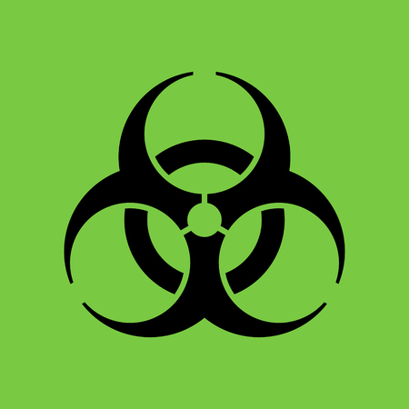 the bacteria signal: Biohazard icon in flat style, symbol, isolated Illustration