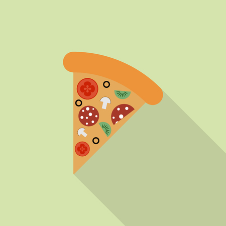 cheesy: Slice of pepperoni pizza in flat style Illustration