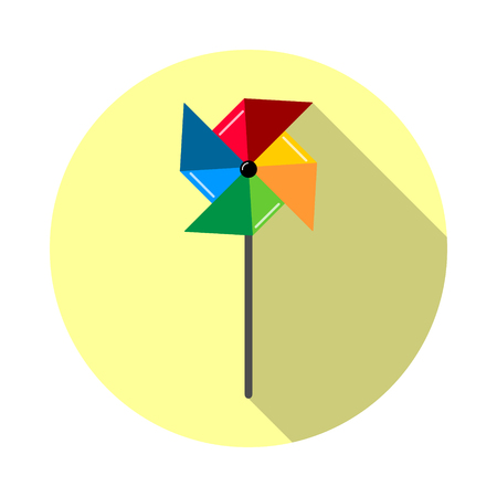 wind mill toy: Pinwheel icon in a flat style, isolated