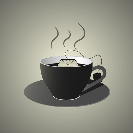 decaf: Black cup of tea with teabag icon, flat design in black and white colors