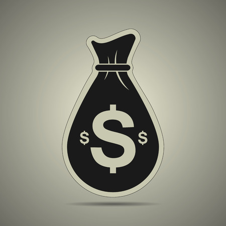 Money bag icon in flat style, black and white colors Illustration