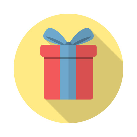 Gift icon in flat style with long shadow, isolated, web icon