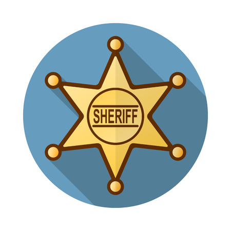 Sheriff badge icon in flat style with long shadow for web and mobile devices, isolated web icon