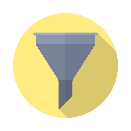 filter icon in flat style with long shadow, isolated web icon Illustration