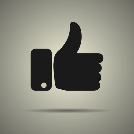 validation: Thumbs up icon, like icon, flat style, black and white colors, isolated web icon Illustration