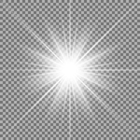 Lumière du soleil avec effet de lumière parasite, étoile brillante sur fond transparent
