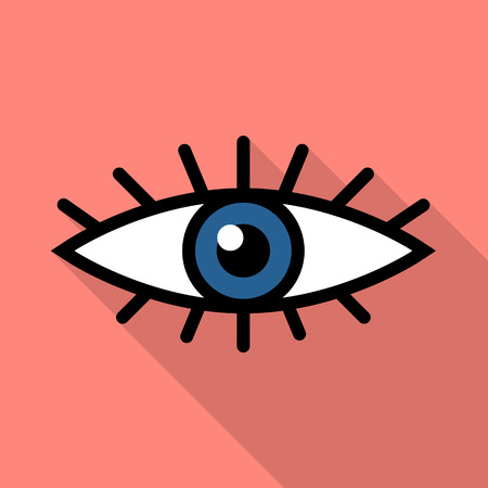 Eye icon in flat style with long shadow, web icon, isolated, colored image