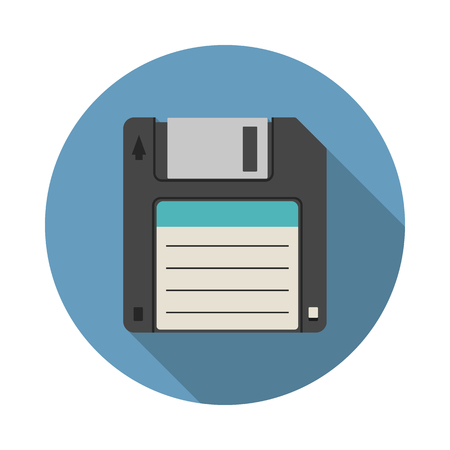Magnetic floppy disc icon in flat style with long shadow, isolated web icon, colored Vektorové ilustrace