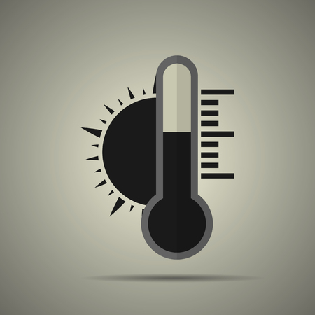 Thermometer and sun icon in flat style, black and white colors Illustration