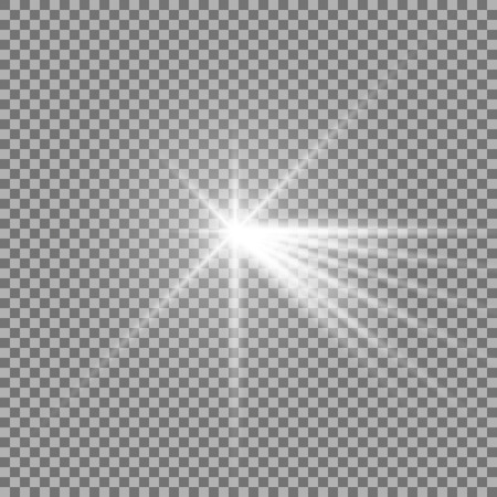 Light with a glare on transparent background, sun rays with transparency, beams, lens flare, white color  イラスト・ベクター素材