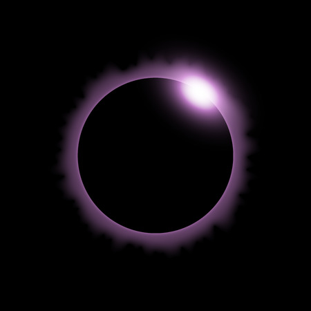 Total eclipse of the sun, solar eclipse on black background, light effect, purple color Illustration