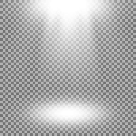 Foco de vectores, efectos de luz. Aislada sobre fondo transparente, color blanco.