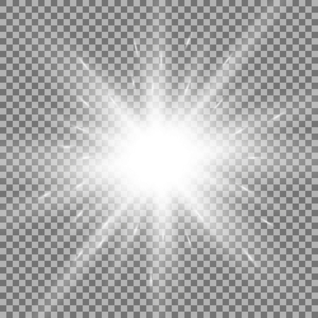 Sunlight with lens flare effect, shining star on transparent background, white color 向量圖像