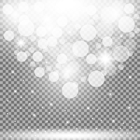 Shining lighting stars, particles on transparent background, white color Stockfoto - 90396132