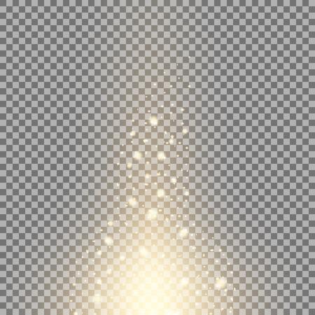 Glow sparks effect, light flare, star and burst on transparent background, golden color
