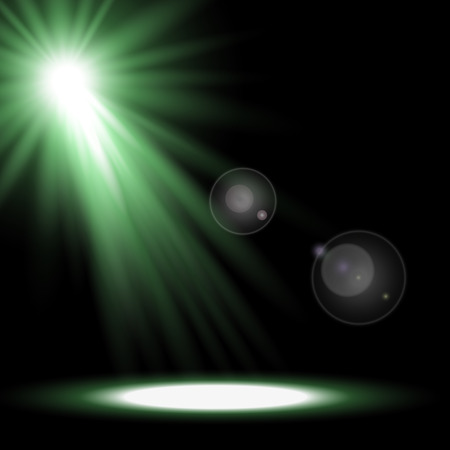 Vector spotlight, light effects. isolated on black background, green color