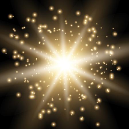 Star burst with sparks, light effect on black background, golden color