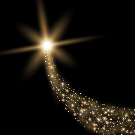 Glittering flying comet with star dust, glowing comet on black background, golden color