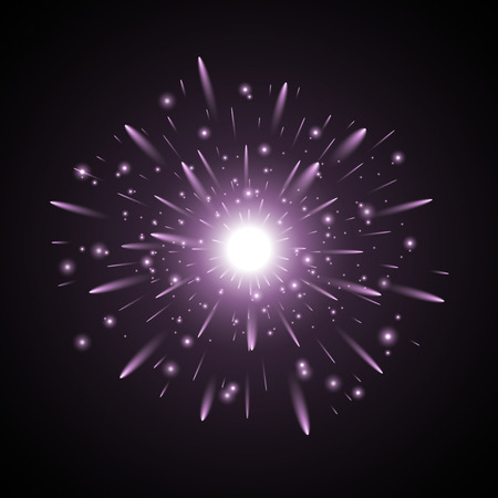 Glowing light with sparks, star burst with sparkles on black background, purple color Çizim