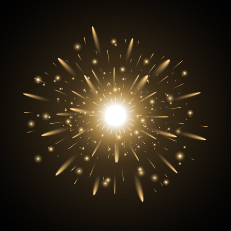 Glowing light with sparks, star burst with sparkles on black background, golden color