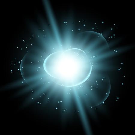 Star burst with sparks, light effect on black background