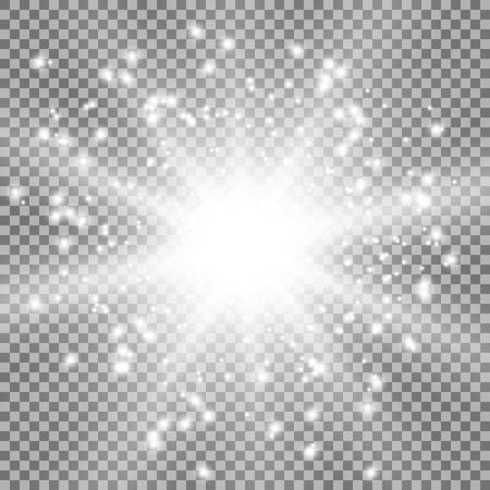 Star burst with sparks light effect on transparent background white color Illustration