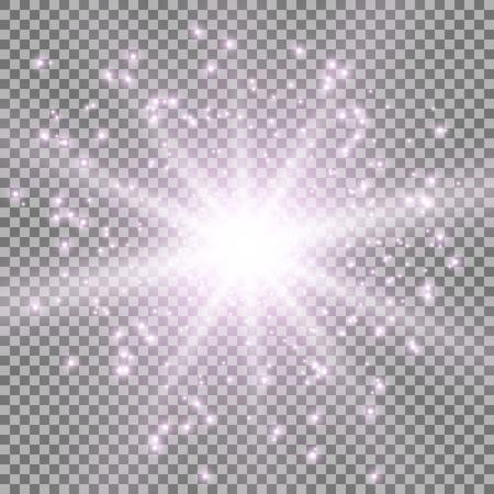 Star burst with sparks light effect on transparent background purple color