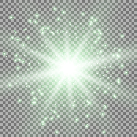 Star burst with sparks light effect on transparent background green color Illustration