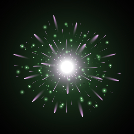 Glowing light with sparks star burst on black background green and purple colors Illustration