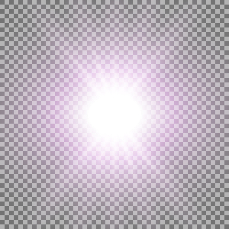 Rays of light special lens flare effect with a glare on transparent background purple color