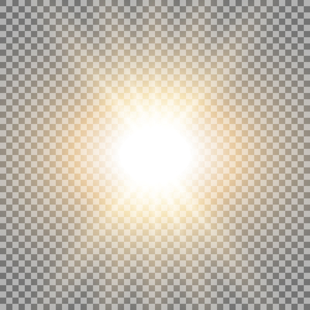 Rays of light special lens flare effect with a glare on transparent background golden color