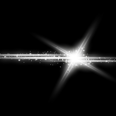 Shining star with a stardust lights and bursts sparkles on black background effect