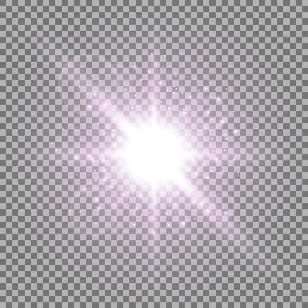 スターダストを持つ光の円、透明な背景に火花を付けて光を照らす、光効果、紫色
