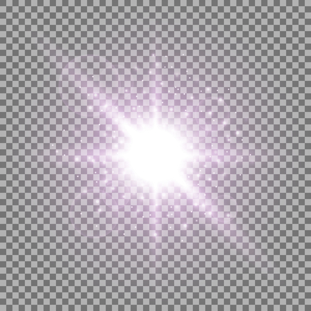 Light circle with stardust, glowing light with sparks on transparent background, light effect, purple color