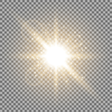 Light circle with stardust, glowing light with sparks on transparent background, light effect, golden color