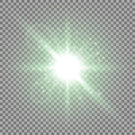 Light circle with stardust, glowing light with sparks on transparent background, light effect, green color Illustration