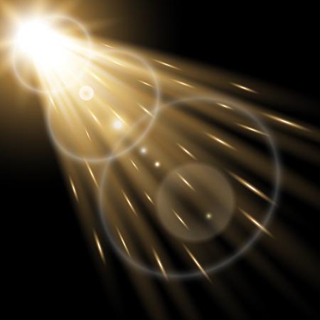 Vector spotlight, light effects. isolated on black background, light effect, golden color